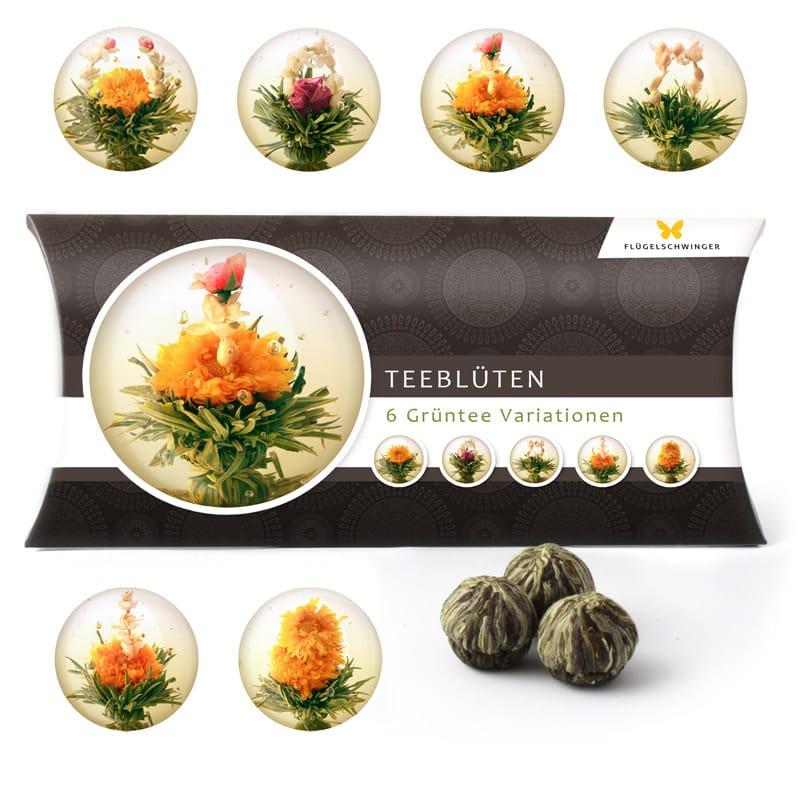6 Teeblumen Geschenkbox - Grüntee Variationen